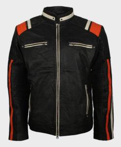 Mens Cafe Racer Striped Black Retro Biker Jacket