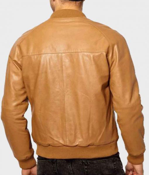 Mens Casual Tan Brown Leather Bomber Jacket