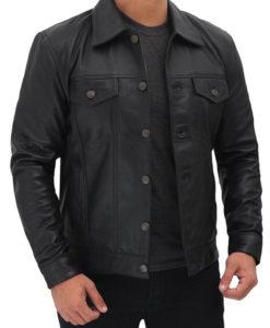 Mens Genuine Leather Black Trucker Jacket