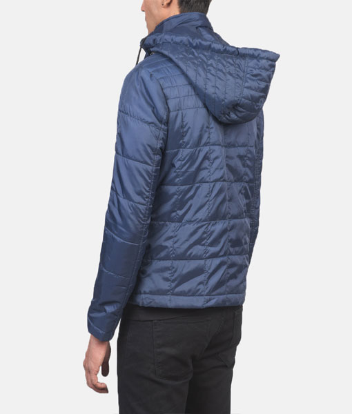 Quilted Blue Windbreaker Jacket with Hood