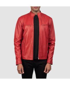 Men's Red Biker Leather Jacket For Mens