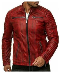 Mens Red Leather Biker Jacket