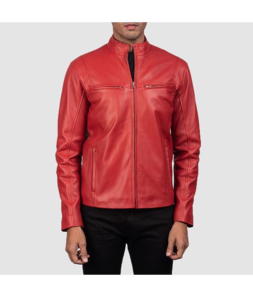 Red Biker Leather Jacket