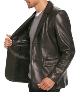 Men's Smooth Black Leather Blazer