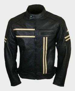 Mens Vintage Black Cafe Racer Retro Jacket