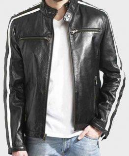 Men's White Stripe Black Biker Cafe Racer Leather Jacket