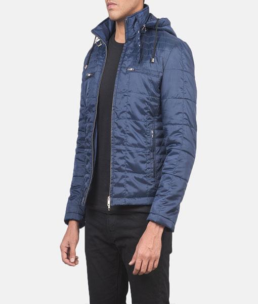 Quilted Blue Windbreaker Jacket
