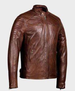 Men's Zipper Pockets Shoulder Padded Café Racer Brown Jacket