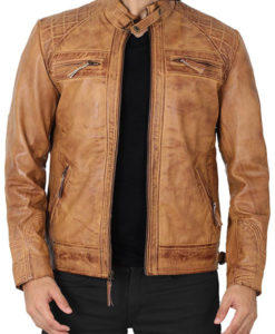 Michael Camel Brown Distressed Leather Jacket