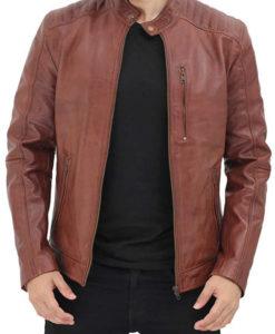 Michael Mens Brown Leather Cafe Racer Jacket