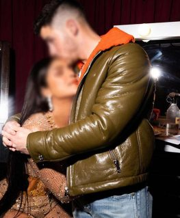 Nick Jonas Green Aviator Leather Jacket