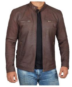 Phillip Distressed Brown Retro Cafe Racer Leather Jacket