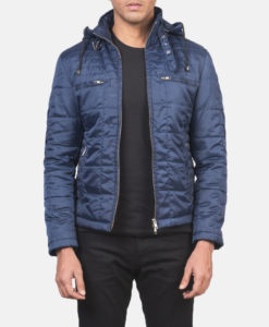 Men's Quilted Blue Windbreaker Jacket with Hood