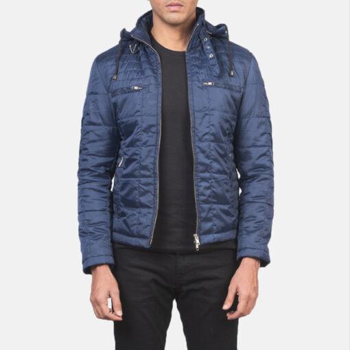 Men's Quilted Blue Windbreaker Jacket with Hood