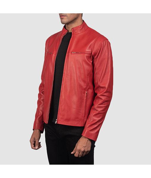 Men's Red Biker Leather Jacket