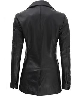 Women Double Breasted Black Leather Blazer
