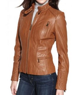 Women's Brown Leather Motorcycle Jacket