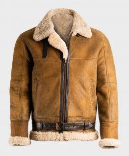 Aviator Mens Brown Sheepskin Shearling B3 Leather Jacket