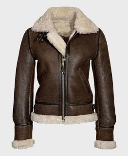 Distressed Brown Shearling Leather Jacket