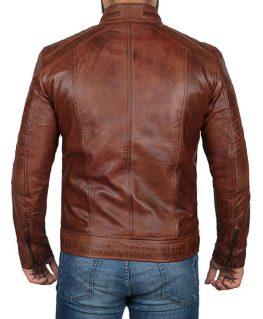 Domingo Chocolate Brown Waxed Leather Jacket