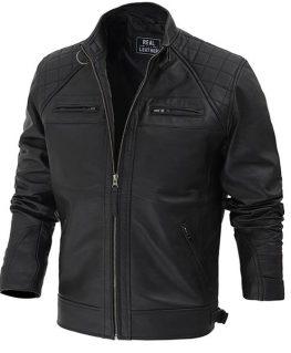 Dustin Diamond Classic Black Cafe Racer Biker Jacket