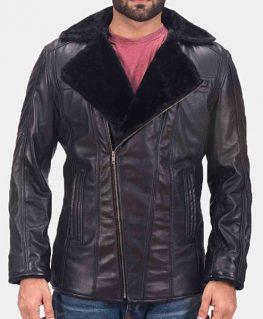 Men's Asymmetrical Zipper Ambrose Black Leather Shearling Jacket