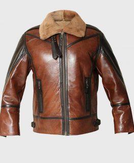 Mens Aviator B3 Brown Distressed Shearling Jacket
