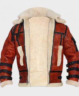 Mens Aviator B6 Sheepskin Leather Bomber Jacket