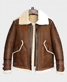 Mens Aviator Shearling Sheepskin B3 Flight Leather Jacket