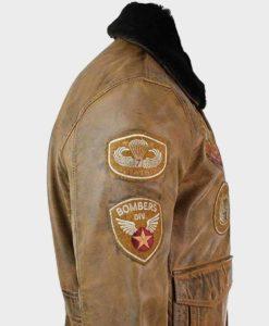 Mens Aviator Tan Bomber Leather Jacket