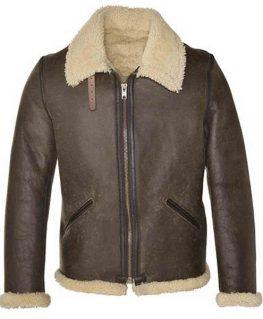 Men's B-6 Vintage Sheepskin Shearling Leather Jacket