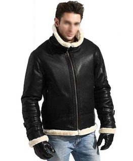 Men's B3 Black Leather Bomber Shearling Jacket with Hoodie