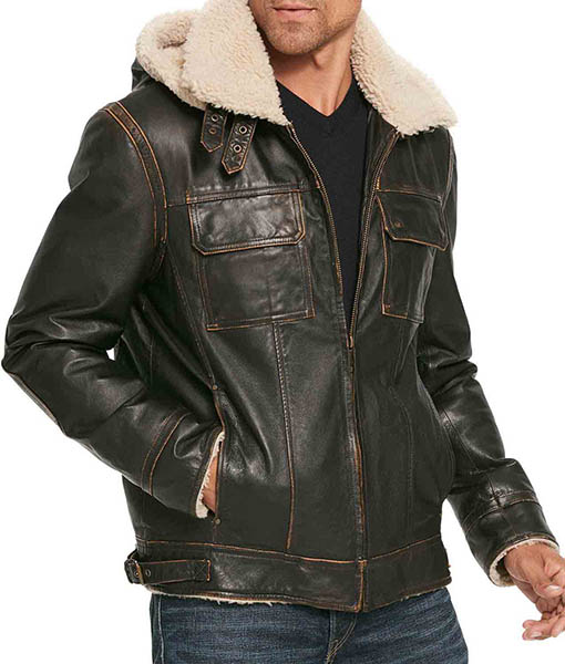 Men's B3 W Classic Shearling Leather Jacket with Hoodie
