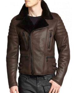Men's Biker Classic Brown Leather Shearling Jacket