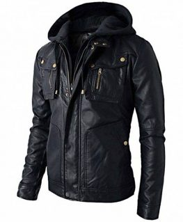 Men's Biker Style Black Faux Leather Jacket with Hoodie
