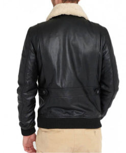 Men's Black Leather Bomber Jacket with Fur Collar
