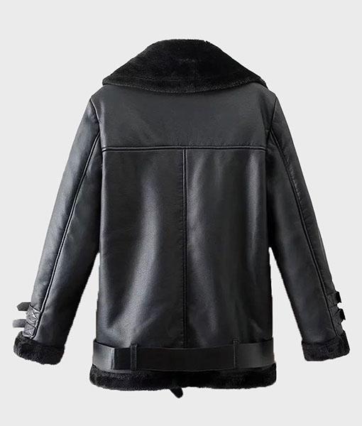 Mens Black Shearling Winter Leather Jacket