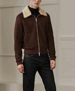 Men's Bomber Brown Suede Shearling Trim Jacket