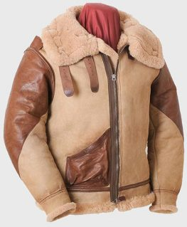 Mens Brown Tan Flying B3 Shearling Leather Jacket