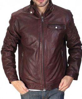 Men's Casual Maroon Waxed Leather Jacket