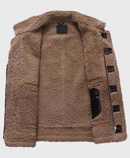 Mens Dark Brown Shearling Sheepskin Fur Leather Jacket