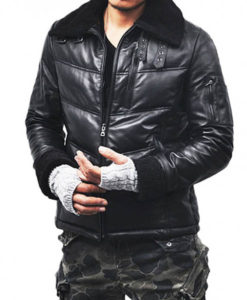 Men's Down Casual Black Leather Jacket with Fur