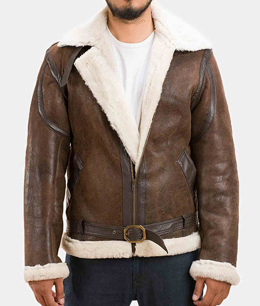 Men's Forest Double Face Shearling Distressed Leather Jacket