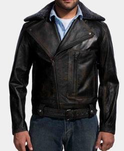 Men's Furton Black Leather Fur Collar Biker Jacket