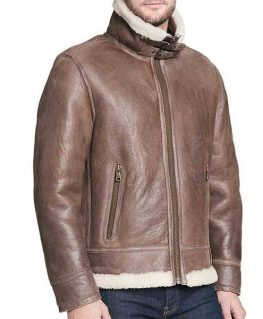 Men's High Neck Buckle Collar Shearling Brown Rugged Leather Jacket