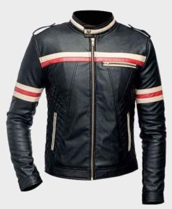 Mens Red And White Striped Black Biker Leather Jacket