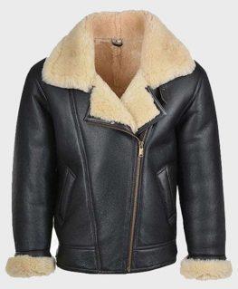 Mens Shearling Black Leather B3 Jacket