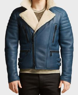 Mens Shearling Blue Leather Jacket