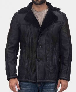 Men's Shearling Double Face Black Leather Jacket