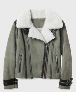 Mens Shearling Grey Leather Jacket